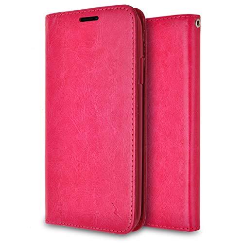 Phonelicious Cricket Icon Smartphone, Att Radiant Core Wallet Hülle Phone Cover Flip Fold PU Leder Schutzzelle mit Kartenfächern, Kickstand Magnetverschluss für ATundT-Emblem strahlend, Rose