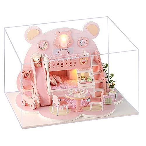 moin moin ドールハウス ミニチュア 手作りキット セット くま ベアー 熊 ピンク | 中型 | LEDライト + アクリルケース (くまさんフェイスルーム) 2006DH157