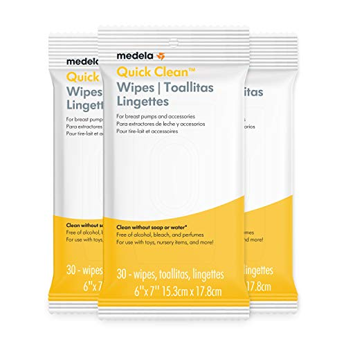 Medela Quick Clean Breast Pump & Accessory Wipes 90ct, 3 Pack of 30Count, Resealable, Convenient & hygienic On The Go Cleaning for Tables, Countertops, Chairs, & More