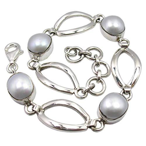SilverStarJewel - Pulsera de perlas de plata de ley maciza de 7,7 pulgadas