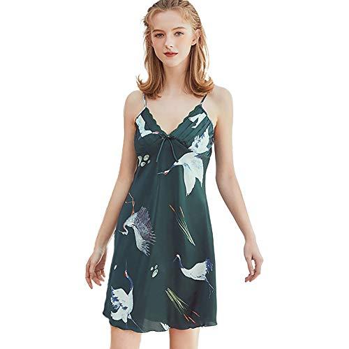 Camisón para Mujer, Pijama Sexy de Seda de Hielo Satinado Señoras de Encaje Grúa Tirantes Camisón Servicio a Domicilio,Verde,L