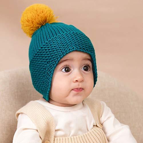 Py Mignon bébé Fille Chapeau créatif Simple Tricot à la Main et à l'automne Hiver Chaud Bonnet en Maille (Color : Blue-Green)