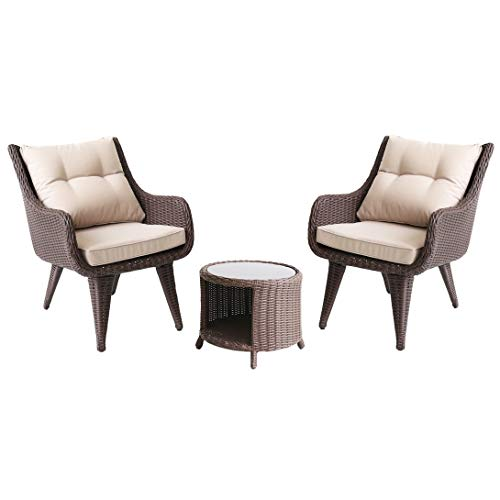 Set di Mobili da Giardino per Esterni, Set di Sedie in Vimini da Conversazione in 3 Pezzi con Tavolino in Vetro Set di Mobili da Giardino per Tutte Le Stagioni