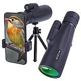 Telescopio Monocular 10-30x50 para Adultos, Telescopio Monocular Resistente al Agua HD con Teléfono Inteligente para Observación de Aves, Senderismo,Caza, Camping, Viajes