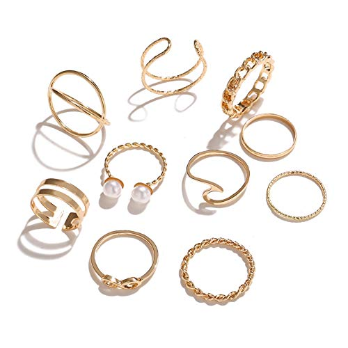 10 Pcs Vintage Knuckle Stackable Rings Set for Women, Bohemian Gold/Silver Plated Comfort Fit VSCO Wave Joint Finger Rings Gift (Wave Gold)