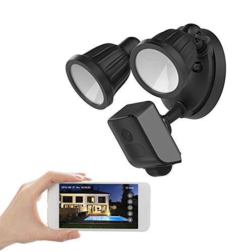 FREECAM Floodlight Camera,1080P HD Outdoor WiFi Überwachungskamera,mit Flutlicht,Gegensprechfunktion und Sirene,Built-in 16GB SD-Karte,Cloud-Speicher verfügbar L800CE (Schwarz)