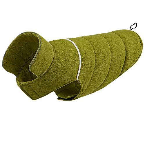 CHIYEEE Hund Jacke Haustier Outdoor Indoor Aktivitäten Mantel Vlies Reflektierende Winterweste für Kaltes Wetter für Kleine Mittelgroße Hunde Grün XXXL