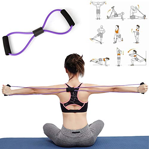 3-in-1 Resistance Fitness Bands, Unisex Pedal Resistance Band, 5 Resistance Loop Bands, 8 Resistance Band, Ideal for Home Fitness, Stretching, Strength Training, Physical Therapy, Pilates Flexbands