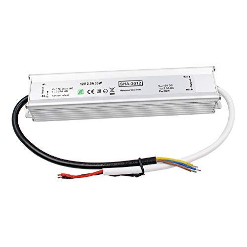 Auforua® LED-voeding waterdicht IP67 12 V 30 W 2,5 A stroomvoorziening voor buitenverlichting, transformator LED-driver voor LED-strips