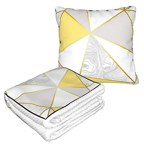 Ahdyr Kissendecke Premium Velvet Soft 2 in 1 Zara Marmor Metallic Senf Gold Kissenbezug für Heimflugzeug Auto Reisen Filme