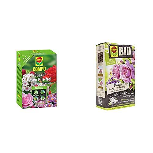 COMPO Duaxo Rosen Pilz-frei, Bekämpfung von Pilzkrankheiten an allen Zierpflanzen, 130 ml & BIO Rosen Langzeit-Dünger für alle Arten von Rosen, Blütensträucher sowie Schling- und Kletterpflanzen, 2 kg