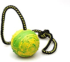 Dog Ball, K9 Ball, Solid Rubber Ball on Rope for Reward, Fetch, Play