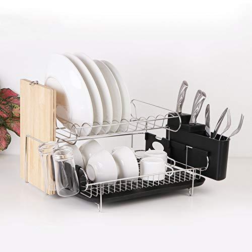 XM&LZ Dish Drying Rack 2 Stufe Küche,Edelstahl Abtropfgestell Besteck-Cup-Halter Dish Drainer Zu Counter Schneidebretthalter Schwarz 20x17x10inch