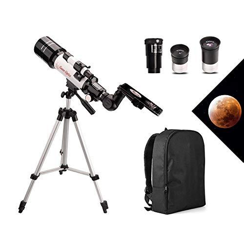 Moutec-telescoop voor kinderen, refractor-telescoop voor astronomie met een opening van 70 mm en een brandpuntsafstand van 400 mm, reikwijdte met verstelbare statief en telefoonadapter en rugzak