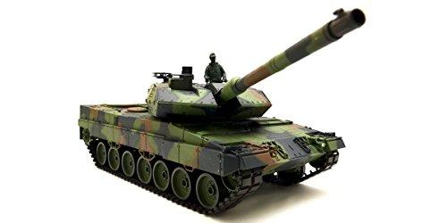 """Ferngesteuerter Panzer mit Schussfunktion """"German Leopard 2A6"""" Heng Long 1:16 mit Rauch&Sound und Metallgetriebe -2,4Ghz -V6.0"""