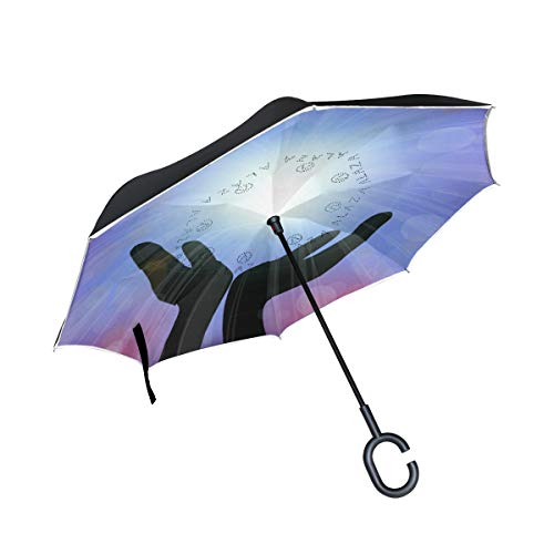 Jojogood Spirit of Healing with Light Inverted Umbrella Reverse Auto Open Double Layer Windproof UV Protection Upside Down Umbrella for Car Rain Outdoor Use