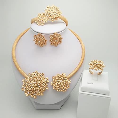 ZXCM Conjunto de Joyas de Color de Oro Africano Nupcial nigeriano Africano de la Boda Dubai Collar Pulsera Pendientes Conjuntos de Anillos