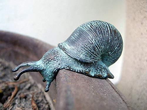 pompidu-living handgefertigte Bronze-Schnecke - Kleine Schnecken-Statue als schöne Gartendeko - Für Blumentopf, Garten, Beet, Bänke, Teich, 4x2x5 cm
