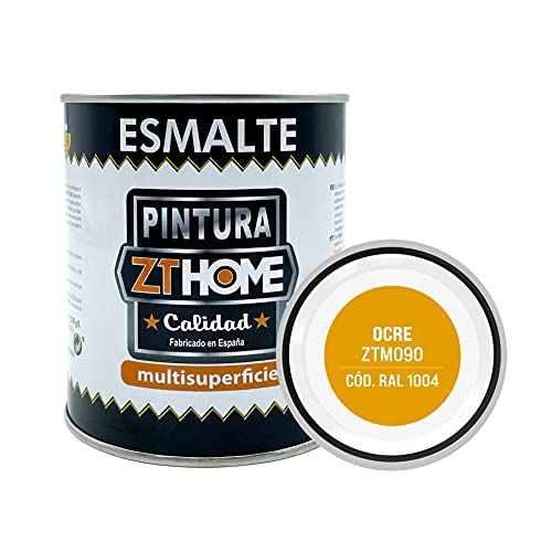 Pintura color Ocre Interior / Exterior / Multisuperfie para azulejos baño cocina , madera, puertas, metal, radiadores, muebles, ceramica / Esmalte sintentico en 375 ml / RAL 1004