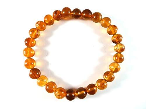 JEWEL BEADS Mooie sieraden AAA++ Kwaliteit Baltische Amber Stretch Armband 7mm Heldere Ronde Glad Hars Sap Edelsteen Kralen Goud Gevulde Goud Gevulde FilledFilleden Healing Code- UKA-4711