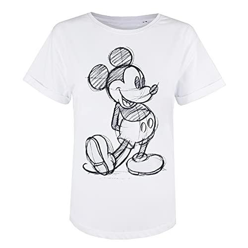 Disney Mickey Mouse Sketch Camiseta, Blanco, 38 para Mujer