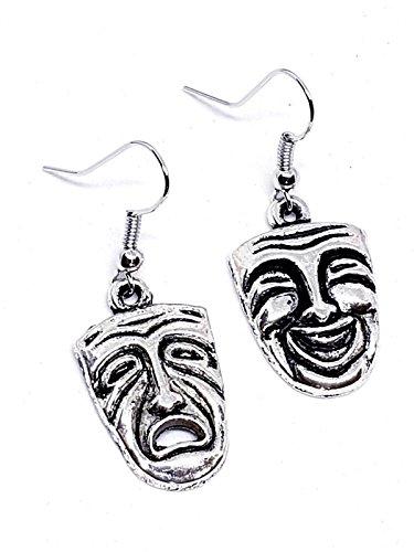 Pendientes de plata de ley con diseño de caballero tibetano de comedia y tragedia en el teatro griego con bolsa de regalo