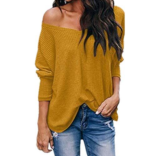 Nobrand Damen-Pullover, sexy, trägerlos, V-Ausschnitt, langärmelig Gr. XXX-Large, gelb