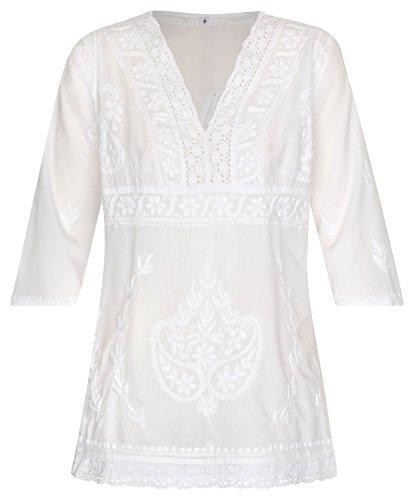 Maharanis Kurti Tunika Bluse tailliert Reine Baumwolle weiß handbestickt Gr. L 40