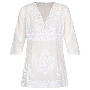 Maharanis Kurti Túnica Blusa entallada de algodón puro blanco bordado a mano | DeHippies.com