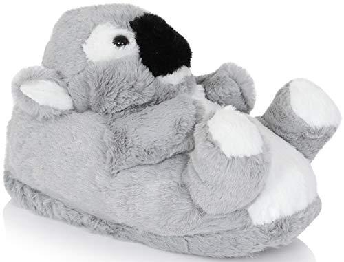 Süße Hausschuhe für Damen, Mädchen, 3D-Hausschuhe, verschiedene Stile, Größen 33 - 38, Grau - liegend koala - Größe: 10/11 UK Child