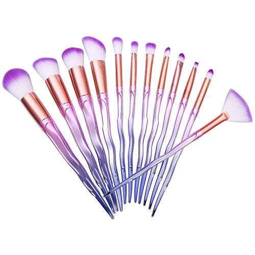 12 stks / set spiraal make-up kwasten kunstmatige vezels paars cosmetische borstels voor foundation concealer oogschaduw paars
