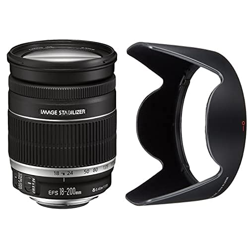 Canon EF 18-200Mm F/3.5-5.6 Is - Objetivo para (Distancia Focal 18-200Mm, Apertura F/3.5-36, Zoom Óptico 11X,Estabilizador, Diámetro: 72Mm) Negro + Ew-78D - Parasol Objetivo