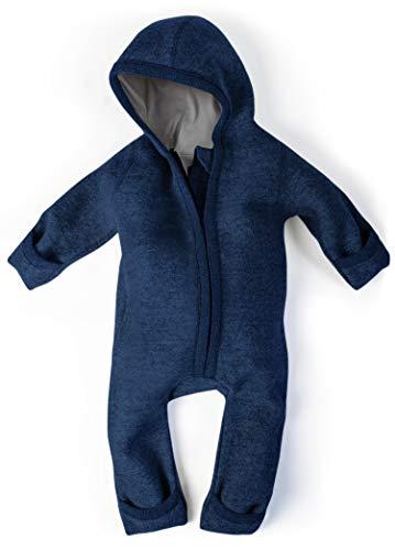 Ehrenkind® WALKOVERALL | Baby Wollwalk-Overalls aus Natur Schurwolle mit Reißverschluss | Walk Wolle Woll-Anzug für Kleinkind und Baby | Blau Gr. 62/68