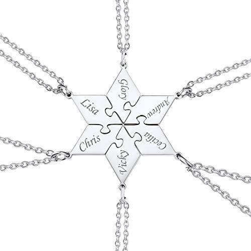 U7 Halskette für Damen Mädchen Edelstahl 6 STK. Polygon Puzzle Anhänger Namenketten personalisiert Partnerketten Freundschaft Familien Schwester