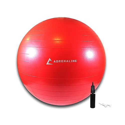 Adrenaline - Fitball 65 cm | Gymball | Palla da ginnastica antiscoppio con pompa di gonfiaggio inclusa