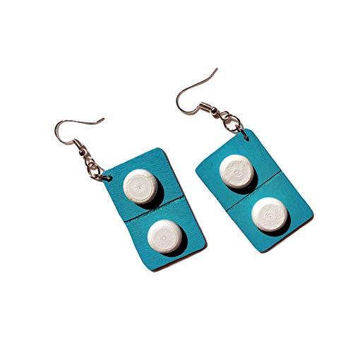 QYMX Ohrring Frauen, Mode Niedliche Holzkapsel Tropfen Ohrringe Lustige Schöne Pillen Medizin Baumeln Ohrringe Einzigartiges Schmuckgeschenk Für Mädchen