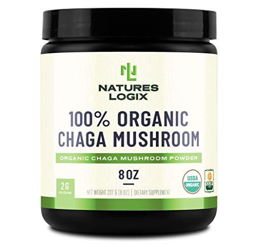 Natures Logix Organic Chaga Mushroom Powder (8 OZ) - Certified USDA Organic - Organic Chaga Mushroom Powder