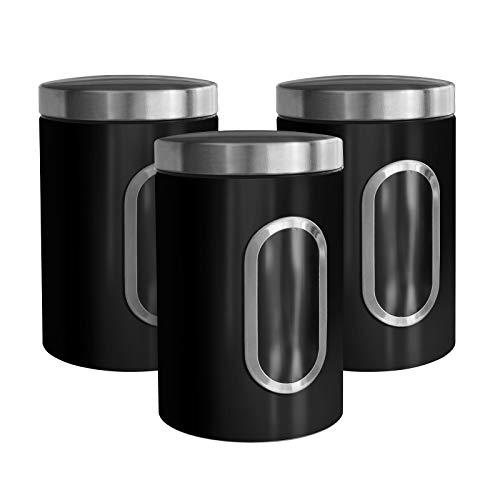 casa pura Barattoli Sale Zucchero caffè - Contenitori Cucina con Finestra Trasparente e Coperchio Ermetico in 5 Colori - Set da 3 Pezzi da 1.4 L - Nero