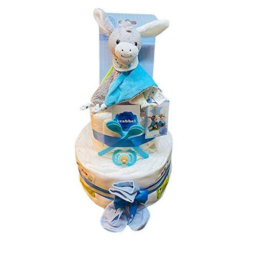 Windeltortenfee.de® - Windeltorte Junge 3 Etagen Schnuffeltuch Erik in blau - inkl. 42 Windeln   Geschenk zur Geburt   Taufgeschenk   Geschenk zur Babyparty (3 Etagen)