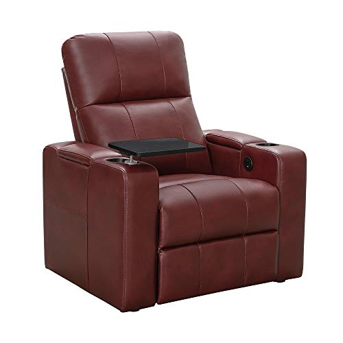 Abbyson Living Faux Leather Upholstered Power Recliner with Side Table Theater Armchair (Red)