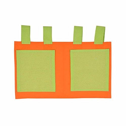 XXL Discount Sac de Jeu pour lit d'enfant Orange/Vert 48 x 30 cm 100% Coton