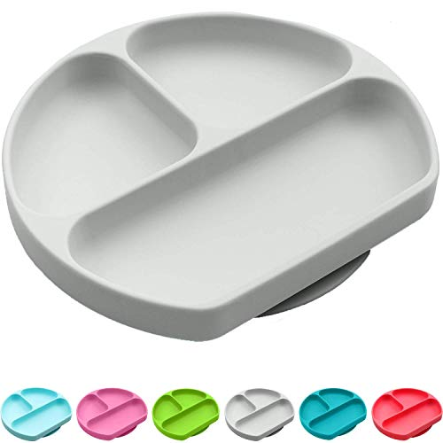 Silikong Suction Plate for Toddlers   BPA Free   Microwave, Dishwasher and Oven Safe   Fits Most Highchair Trays   Stay Put Divided Baby Feeding Bowls and Dishes for Kids and Infants