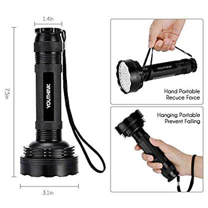 YOUTHINK UV Torch, 100 LED UV Flashlight with UV Protection Glasses, 395nm Upgraded 100 LED Flashlight Black Light Ultraviolet Lamp, Dog Cat Urine Detector, for Carpet/Floor 8