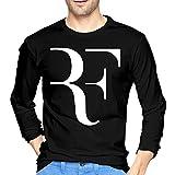 Markilan Roger Federer Hombre Camisetas De Manga Larga Casual De Tees Shirt Black XX-Large