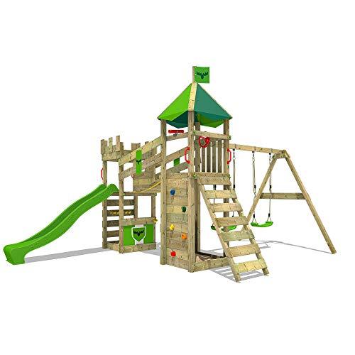 FATMOOSE Spielturm Ritterburg RiverRun mit Schaukel & apfelgrüner Rutsche, Spielhaus mit Sandkasten, Leiter & Spiel-Zubehör