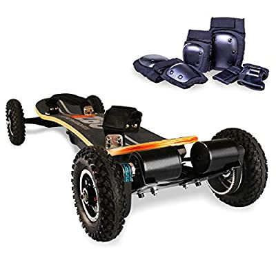 AZBO Off Road Electric Skateboard with Remote Control - 3300W Dual Motor - UL2272 Certified High Speed 25 MPH Motorized Mountain Y8 Longboard with Bindings for Cruising | LG Battery (Gray)