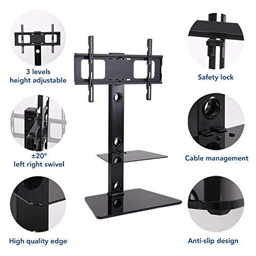 Fleximounts TS01 Meuble TV avec Support pour Cantilever Télé Pivotant pour Ecran LED LCD Plasma 32 à 65 Pouce avec 2 Etages, Capacité de Charge max40 kg, VESA Max 600 * 400