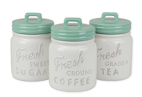 DII 3-Piece Vintage, Retro, Farmhouse Chic, Mason Jar Inspired Ceramic Kitchen Canister With Airtight Lid For Food Storage, Store Coffee, Sugar, Tea, Spices and More - Aqua