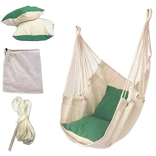 Opknoping Hangmat Stoel, Canvas Swing Chair Seat Met De 2 Kussen Voor Slaapzaal Binnenplaats Tuin Amiableoutdoor Camping Indoor,Green