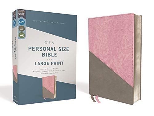 NIV, Personal Size Bible, Large Print, Leathersoft, Pink/Gray, Red Letter, Comfort Print